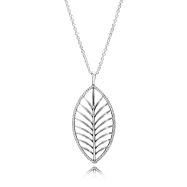 PANDORA_High Summer Collection 2015_Palm tree silver pendant with cubic zirconia and necklace_HK$1,299