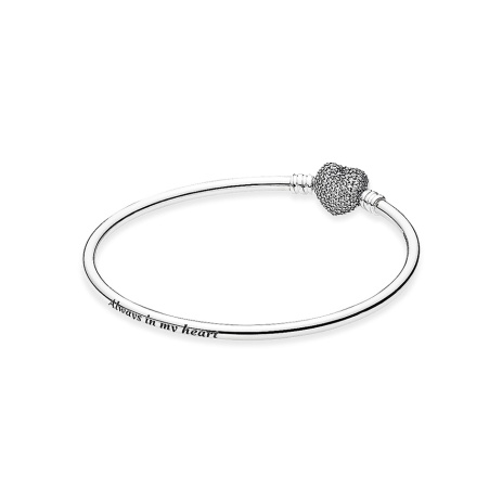 PANDORA_Mother's Day Collection 2015_Silver bangle with heart-shaped clasp and cubic zirconia_HK$899