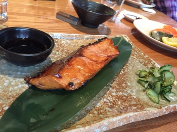 Sake no Teriyaki Kyuri Zoe (Salmon Fillet with Ginger Teriyaki Sauce and Pickled Ginger)