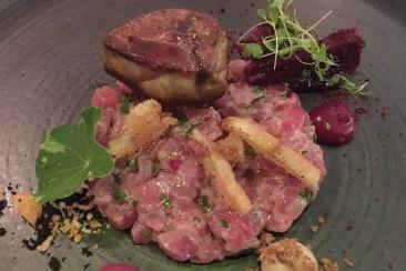 Yellowfin Tuna Tartar, Duck Foie Gras, Sushi Rice, Truffle, Radicchio, Beetroot, Hazelnut