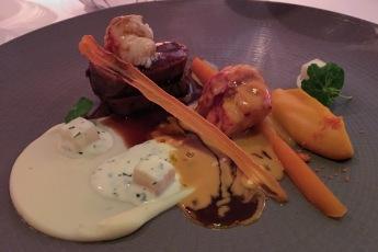 """Terre et Mer """"Lobster, King Crab, Fillet, Celeriac, Heritage Carrot, Pinot Noir"""